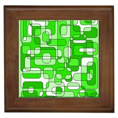 Green decorative abstraction  Framed Tiles