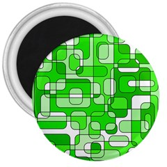 Green decorative abstraction  3  Magnets