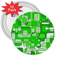 Green decorative abstraction  3  Buttons (10 pack)