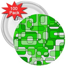 Green decorative abstraction  3  Buttons (100 pack)