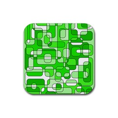 Green decorative abstraction  Rubber Square Coaster (4 pack)