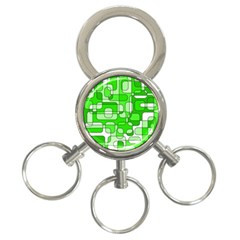 Green decorative abstraction  3-Ring Key Chains