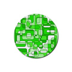 Green decorative abstraction  Rubber Round Coaster (4 pack)
