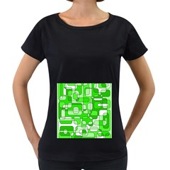 Green decorative abstraction  Women s Loose-Fit T-Shirt (Black)