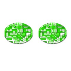 Green decorative abstraction  Cufflinks (Oval)