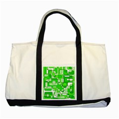 Green decorative abstraction  Two Tone Tote Bag