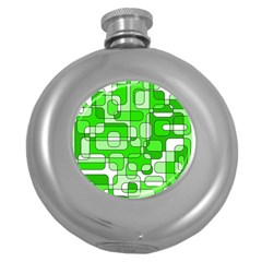 Green decorative abstraction  Round Hip Flask (5 oz)