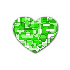 Green decorative abstraction  Rubber Coaster (Heart)