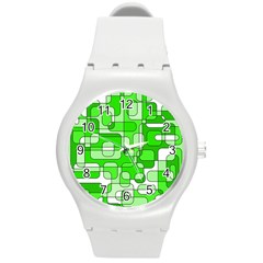 Green decorative abstraction  Round Plastic Sport Watch (M)