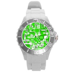 Green decorative abstraction  Round Plastic Sport Watch (L)