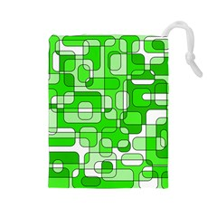 Green decorative abstraction  Drawstring Pouches (Large)