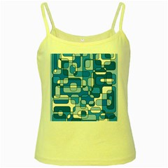 Blue decorative abstraction Yellow Spaghetti Tank