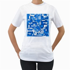 Blue decorative abstraction Women s T-Shirt (White) (Two Sided)