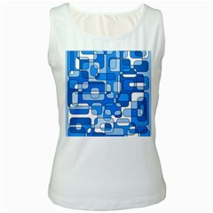 Blue decorative abstraction Women s White Tank Top