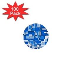 Blue decorative abstraction 1  Mini Buttons (100 pack)
