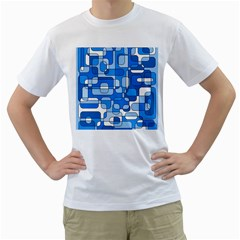 Blue decorative abstraction Men s T-Shirt (White) (Two Sided)
