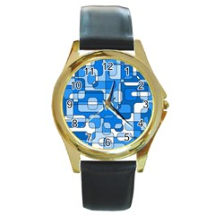Blue decorative abstraction Round Gold Metal Watch
