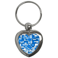 Blue decorative abstraction Key Chains (Heart)