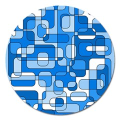 Blue decorative abstraction Magnet 5  (Round)