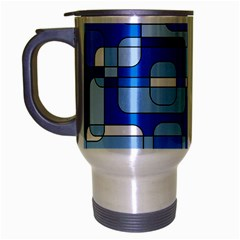 Blue decorative abstraction Travel Mug (Silver Gray)