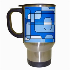 Blue decorative abstraction Travel Mugs (White)