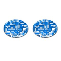 Blue decorative abstraction Cufflinks (Oval)