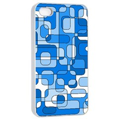Blue decorative abstraction Apple iPhone 4/4s Seamless Case (White)