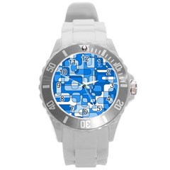 Blue decorative abstraction Round Plastic Sport Watch (L)