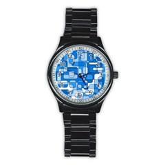 Blue decorative abstraction Stainless Steel Round Watch