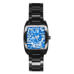 Blue decorative abstraction Stainless Steel Barrel Watch