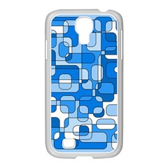 Blue decorative abstraction Samsung GALAXY S4 I9500/ I9505 Case (White)