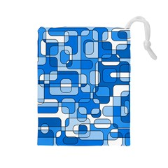 Blue decorative abstraction Drawstring Pouches (Large)