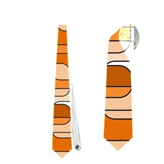 Orange decorative abstraction Neckties (One Side)