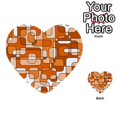 Orange decorative abstraction Multi-purpose Cards (Heart)