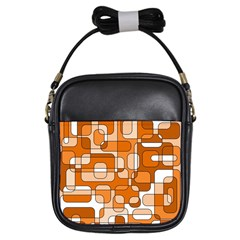 Orange decorative abstraction Girls Sling Bags