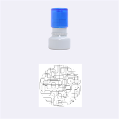 Orange decorative abstraction Rubber Round Stamps (Small)