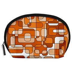 Orange decorative abstraction Accessory Pouches (Large)