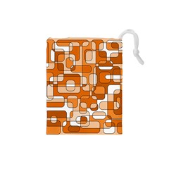 Orange decorative abstraction Drawstring Pouches (Small)