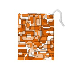 Orange decorative abstraction Drawstring Pouches (Medium)