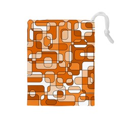 Orange decorative abstraction Drawstring Pouches (Large)