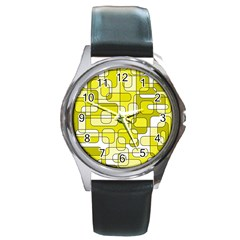 Yellow decorative abstraction Round Metal Watch