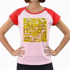Yellow decorative abstraction Women s Cap Sleeve T-Shirt
