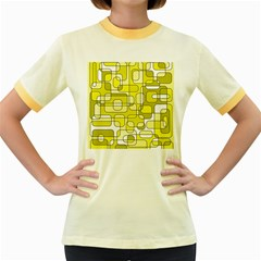 Yellow decorative abstraction Women s Fitted Ringer T-Shirts