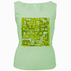 Yellow decorative abstraction Women s Green Tank Top