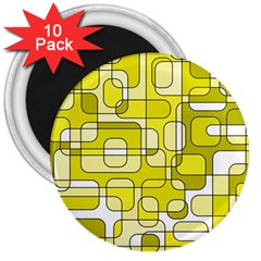 Yellow decorative abstraction 3  Magnets (10 pack)