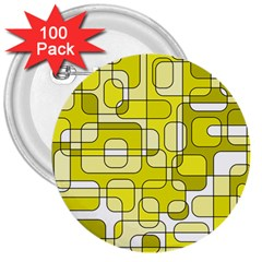 Yellow decorative abstraction 3  Buttons (100 pack)