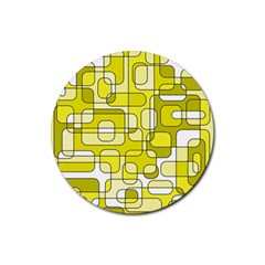 Yellow decorative abstraction Rubber Round Coaster (4 pack)