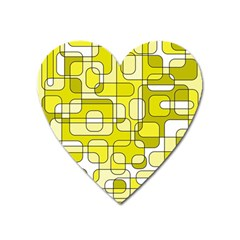 Yellow decorative abstraction Heart Magnet