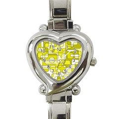 Yellow decorative abstraction Heart Italian Charm Watch