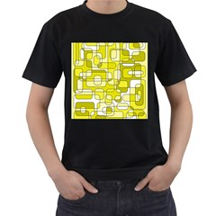 Yellow decorative abstraction Men s T-Shirt (Black) (Two Sided)